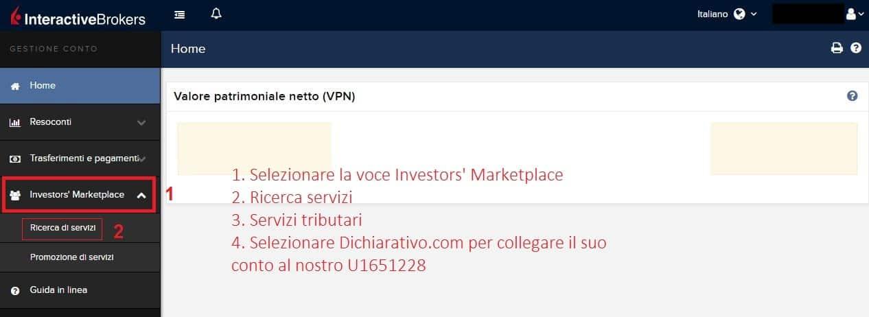 Collegare il proprio conto IB all'account di Dichiarativo.com 1