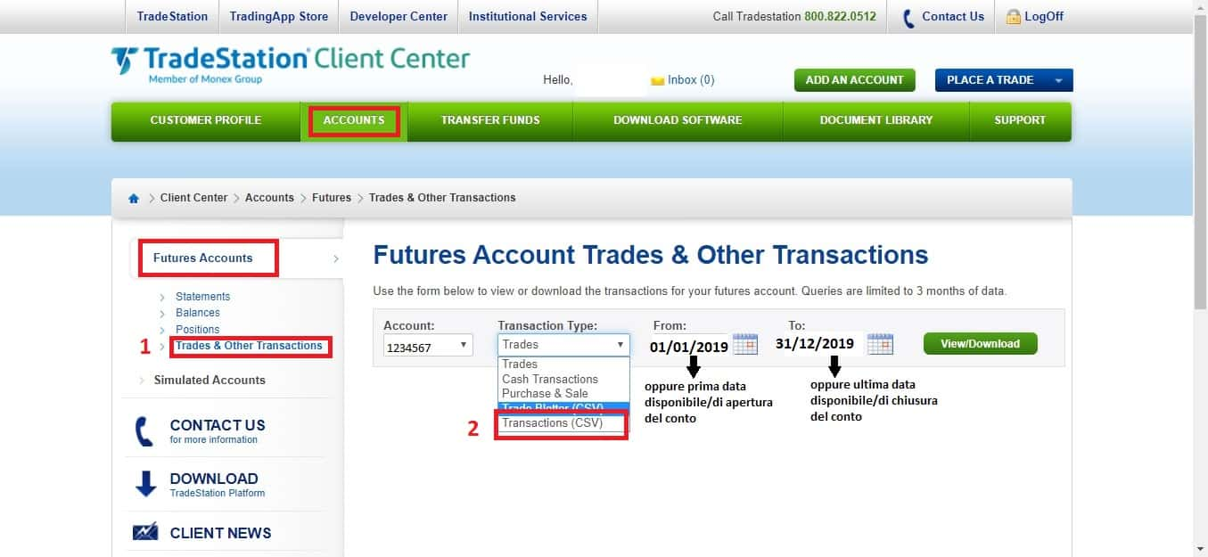 Come consegnarci i dati del conto trading 5